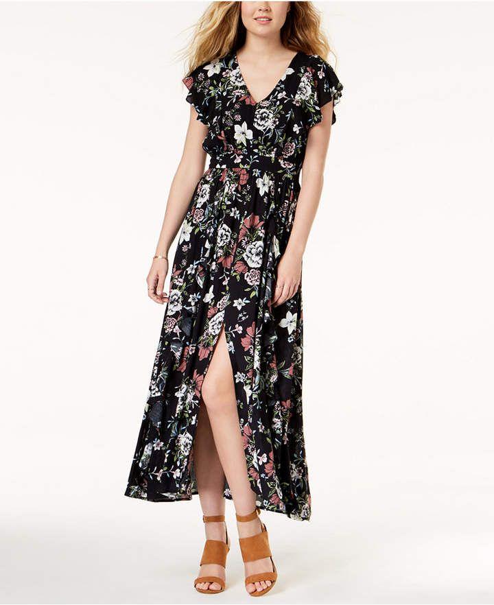 American Rag Juniors  Printed Ruffled Maxi Dress 7c050da27