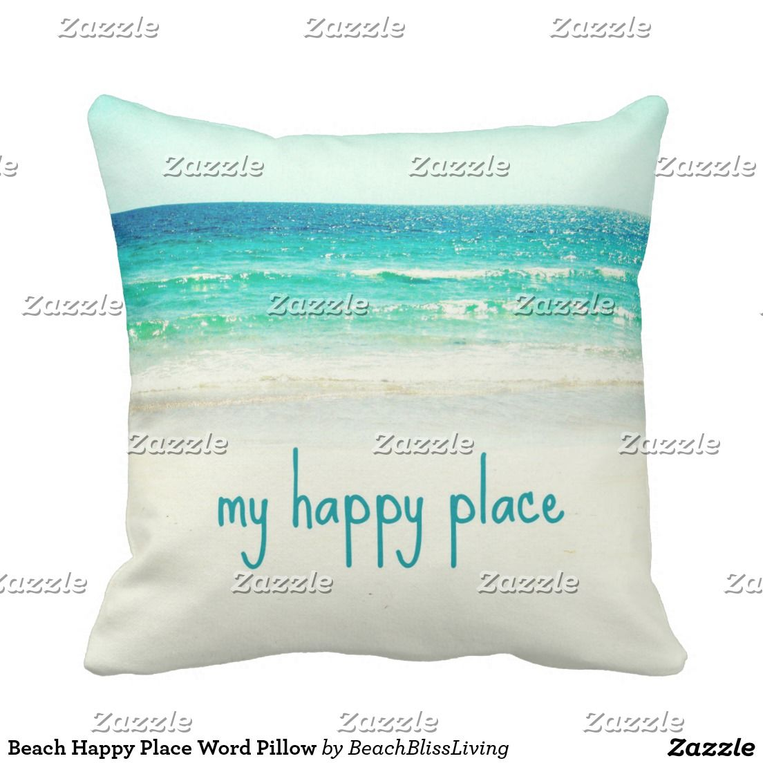 Beach happy place word pillow pillows beach and interiors