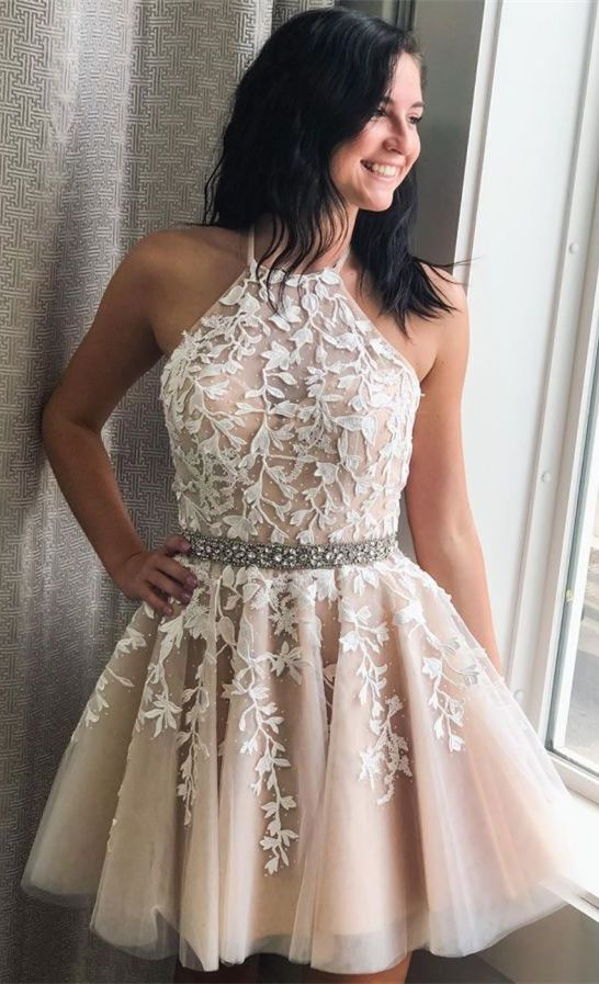 Halter Short Ivory Lace Appliques Homecoming Dress #lacehomecomingdresses