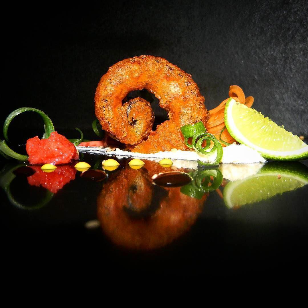 Pulpo rebozado al estiló chino acompañado de crema de tofu de caraotas blancas y limón momiji oroshi y mostaza. Chinese-style batter accompanied tofu cream of white beans and lemon mustard momiji oroshi and octopus. @alejosequera_  #SOMOSMAS  #cocineros_venezolanos #ComidaVenezolana #chefstalk #chefsofinstagram #gastroart# #food #foodporn #theartofplating #foodphotography #foodart  #InstaFood #dailyfoodfeed #culinarychefsportal  #truecooks  #foodstarz  #eeeeeats #feedfeed #heartandstomach…