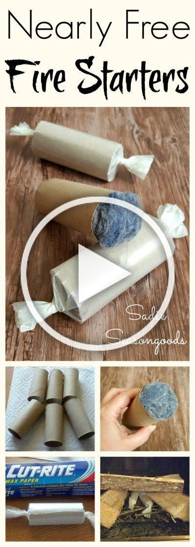 Create easy and nearly free DIY fire starters with items from your home that youd normally throw out! Repurpose cardboard toilet paper tubes by filling them with dryer lint, and then wrap them in wax paper! Perfect repurpose / upcycle craft project for autumn and winter, or just to add to your survival supplies. #SadieSeasongoods / www.sadieseasongoods.com #wintersurvivalsupplies