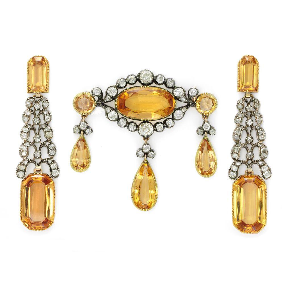 Antique Imperial topaz and diamond demi parure, circa 1770