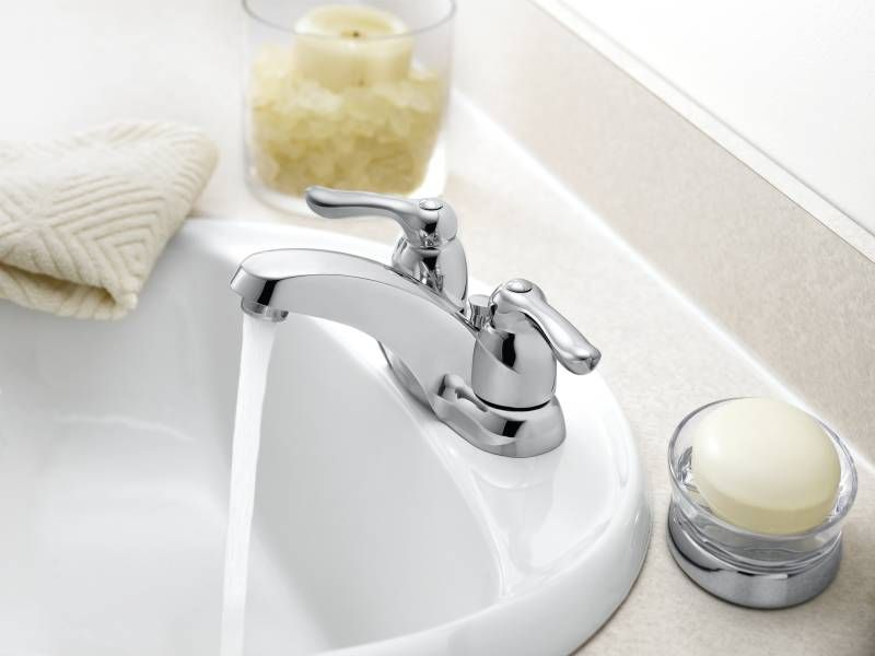 Moen 4925 Chateau Two Handle Centerset Lavatory Faucet Chrome Faucetdepot Com Low Arc Bathroom Faucet Bathroom Faucets Bathroom Sink Faucets