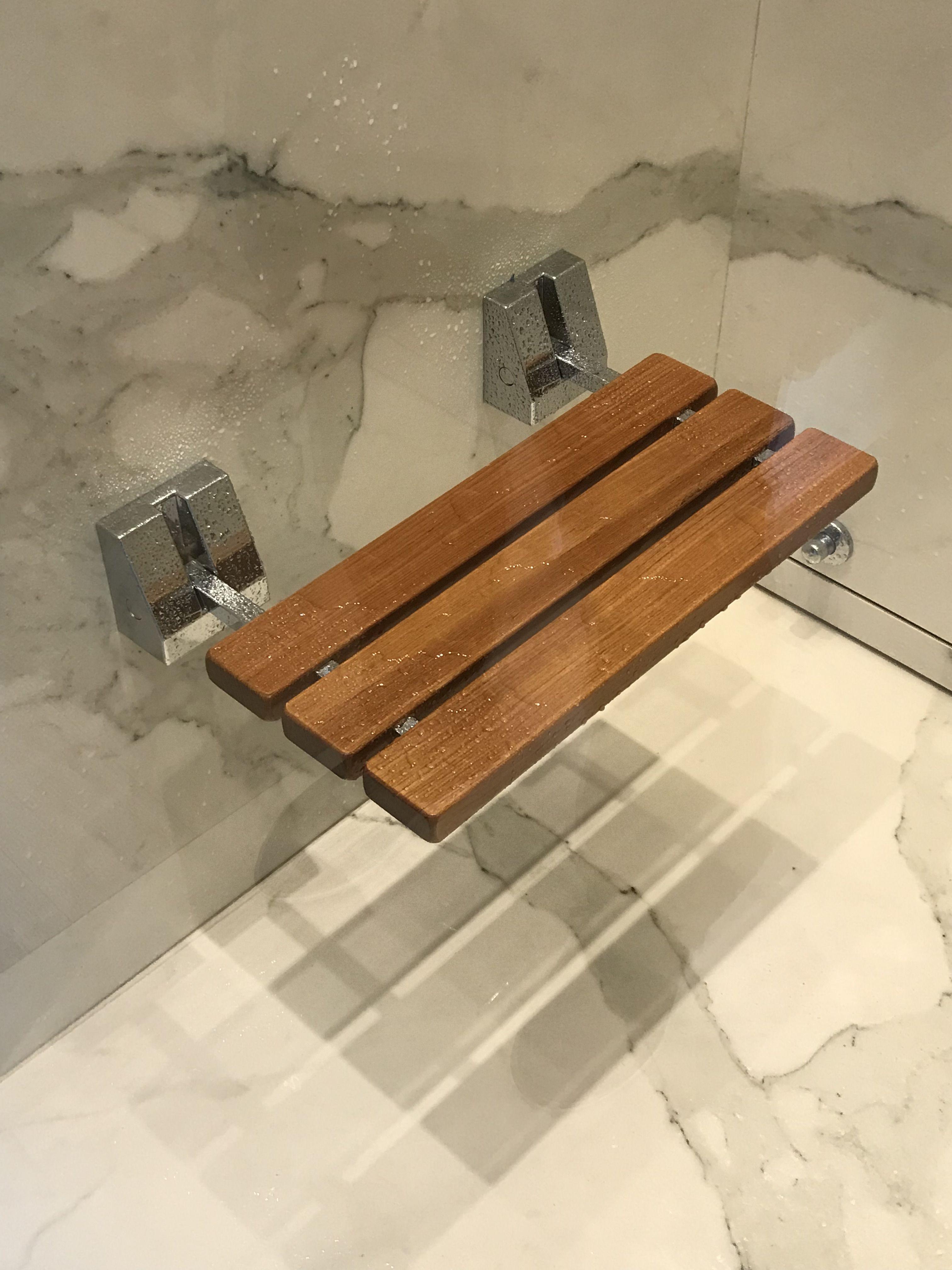 Fold Down Teak Bench for Shower Wall from Splash Bathroom Store in ...