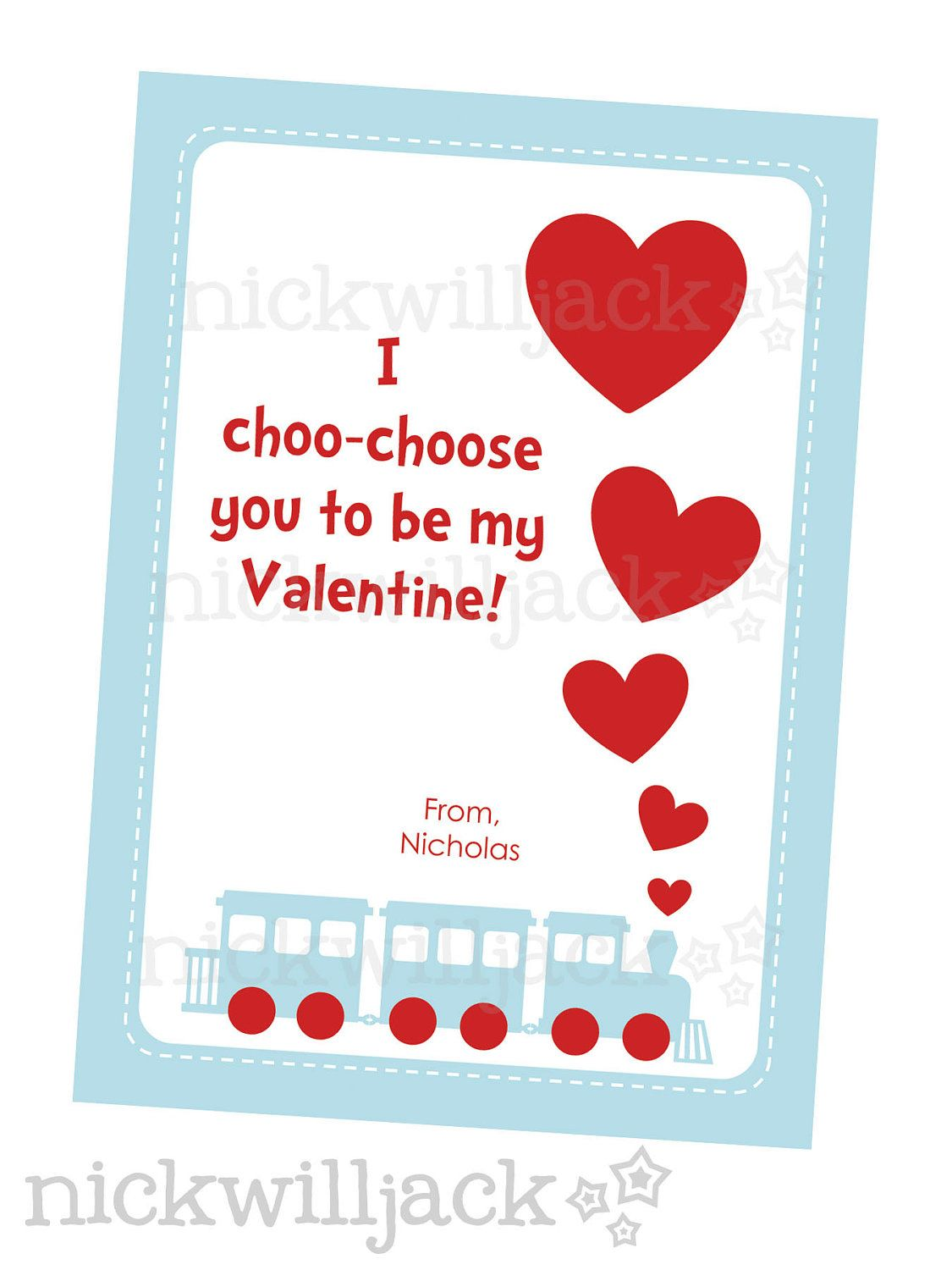 childrens printable train valentine card 700 via etsy - Etsy Valentines Cards