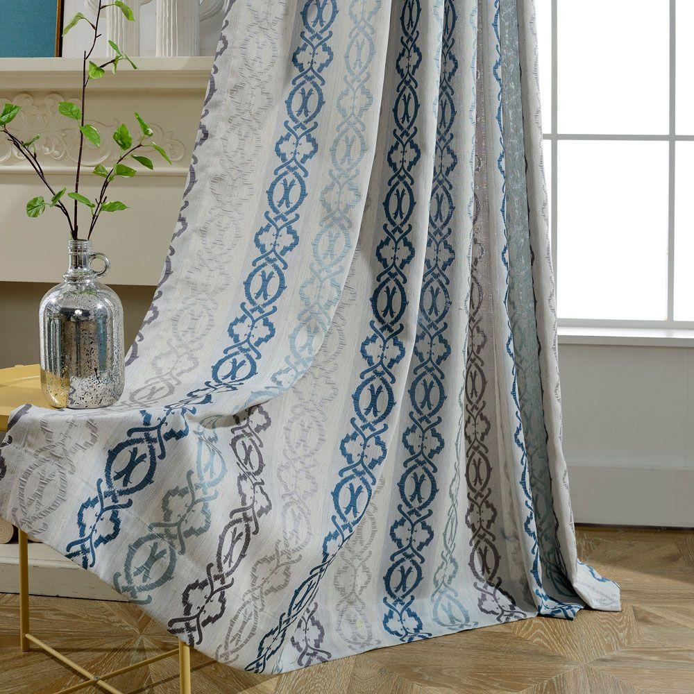 Rideaux Design Pour Chambre rideau tamisant en coton lin jacquard rayure pour chambre à