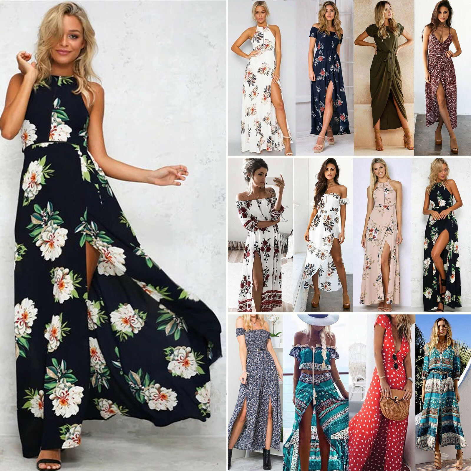 Frauen Boho lange Maxi Abend Party Lace Dress Sommerstrand Sommerkleid weiß