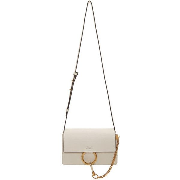 Chloé Off-White Small Faye Bag (€1.305) ❤ liked on Polyvore featuring bags, handbags, shoulder bags, champagne purse, champagne handbag, shoulder bag purse, clasp purse and snap purse
