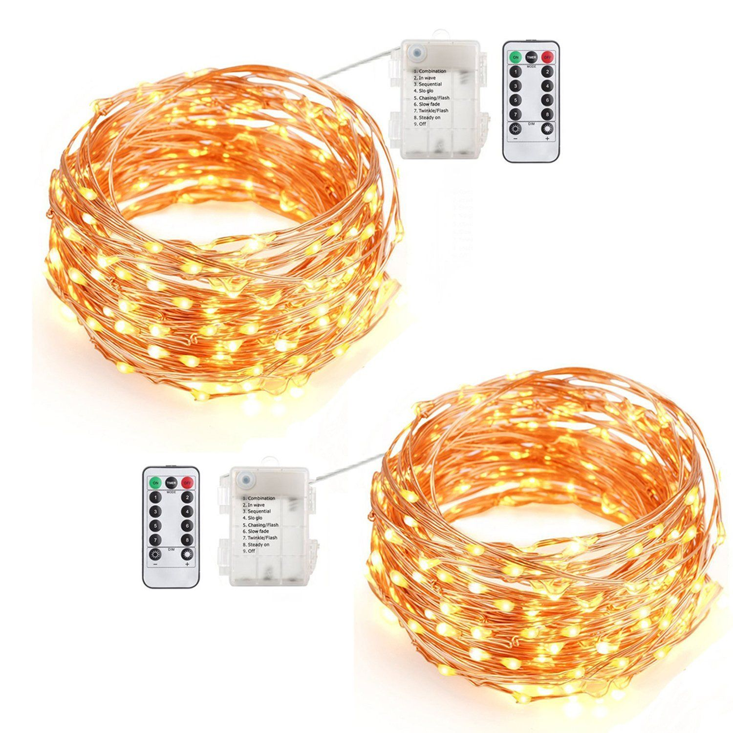Eagwell 16.5ft LED String Lights Battery Powered Warm White Color ...