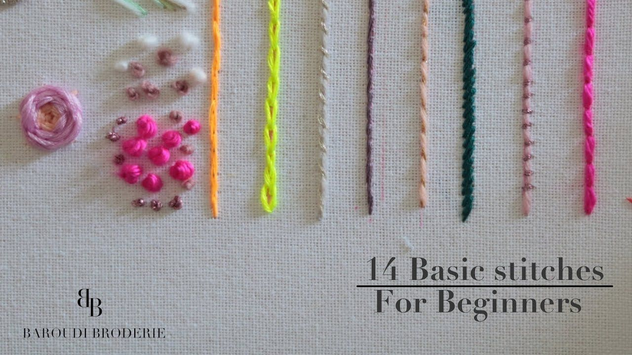 Hand Embroidery For Beginners 14 Basic Stitches With Drawing