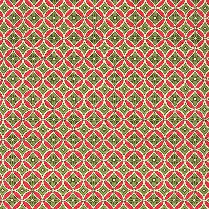 "Red and Green Floral Tile Print Italian Paper ~ Carta Varese Italy Item #: IPV815G 1 sheet measuring 19.5"" x 13.5"" of floral tile print paper in a mix of red and green"