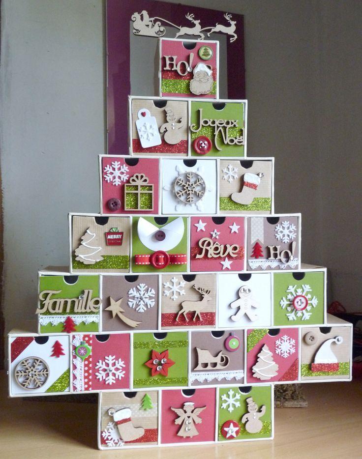 Calendrier de l'avent - forme sapin à cases décorées - scrap & formes boi... #calendrierdel#39;avent