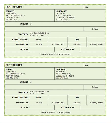 Green Background Rent Receipt - Microsoft Word Template Invoice