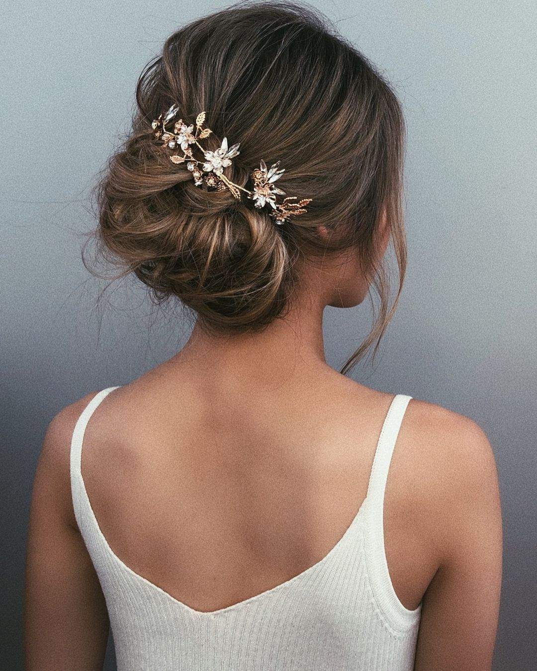 Textured wedding updo hairstyle messy updo wedding hairstyles