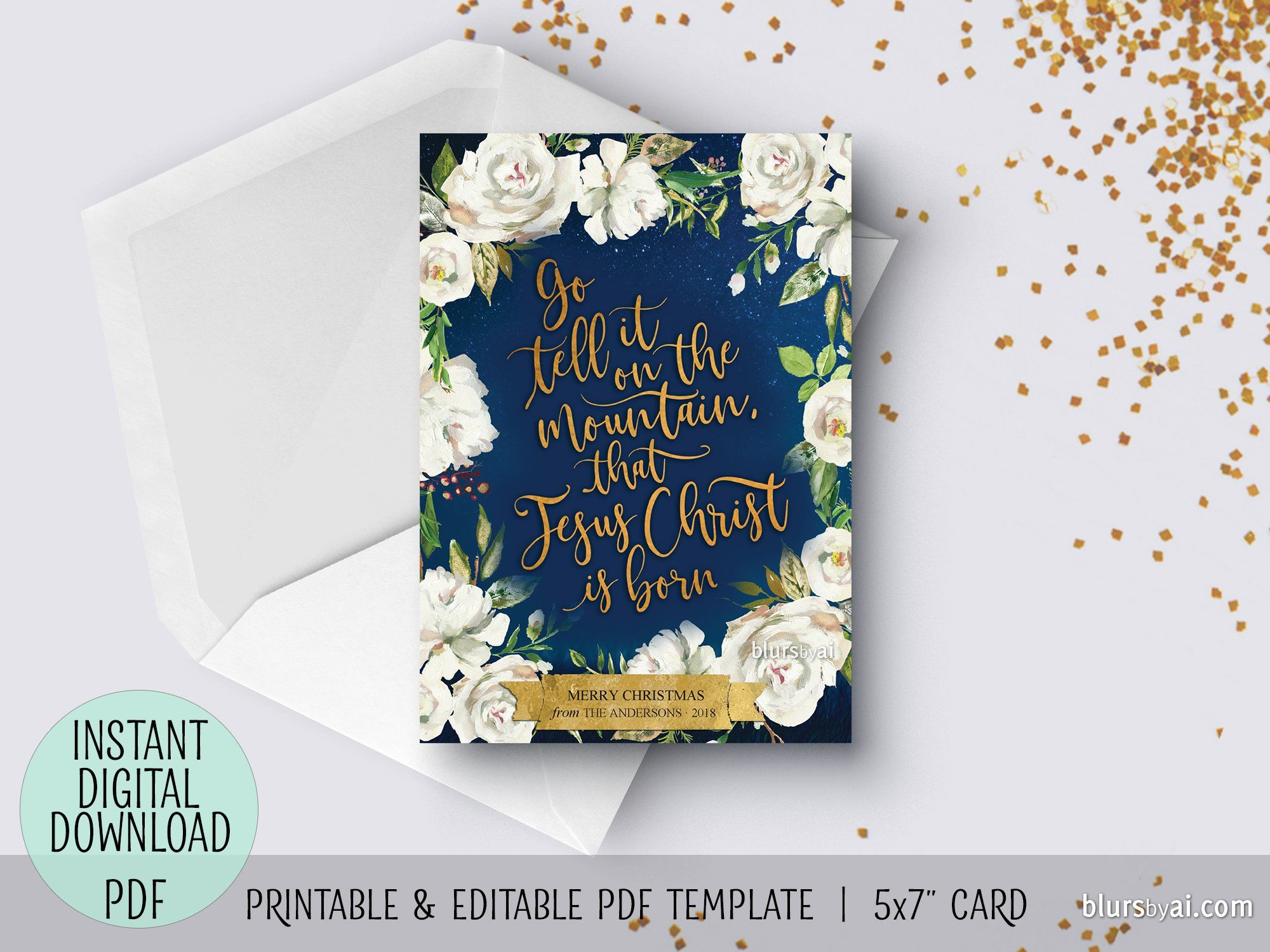 Editable Pdf Christmas Card Template Go Tell It On The Mountain In Navy Blue Floral Background Christmas Card Template Christmas Cards Floral Cards