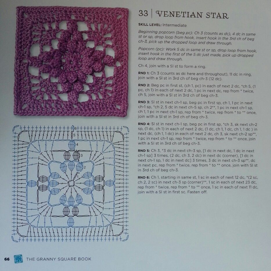 Venetian Star - from The Granny Square Book by Margaret Hubert #crochetmoodblanket2014 granny square crochet pattern
