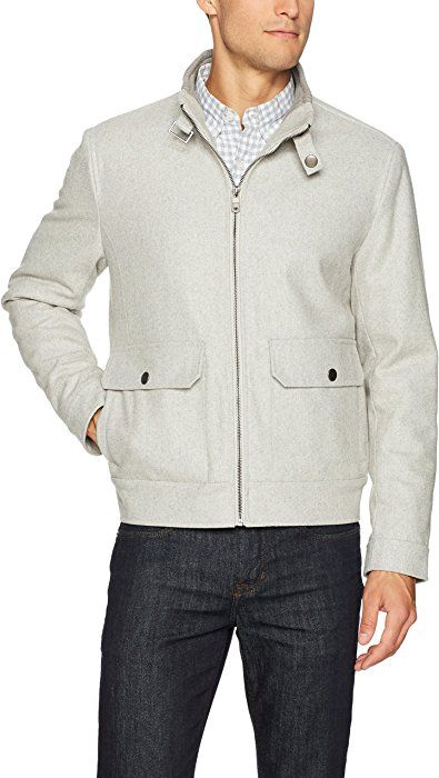 bb4c0d93 Kenneth Cole New York Men's Melton Wool Bomber Jacket, Tin, Medium at Amazon  Men's Clothing store: