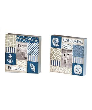 This Relax & Escape Wooden Block Photo Frame Set by Evergreen is perfect! #zulilyfinds