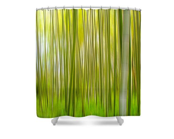 Green Shower Curtain Bamboo Shower Curtain Zen Bathroom Decor