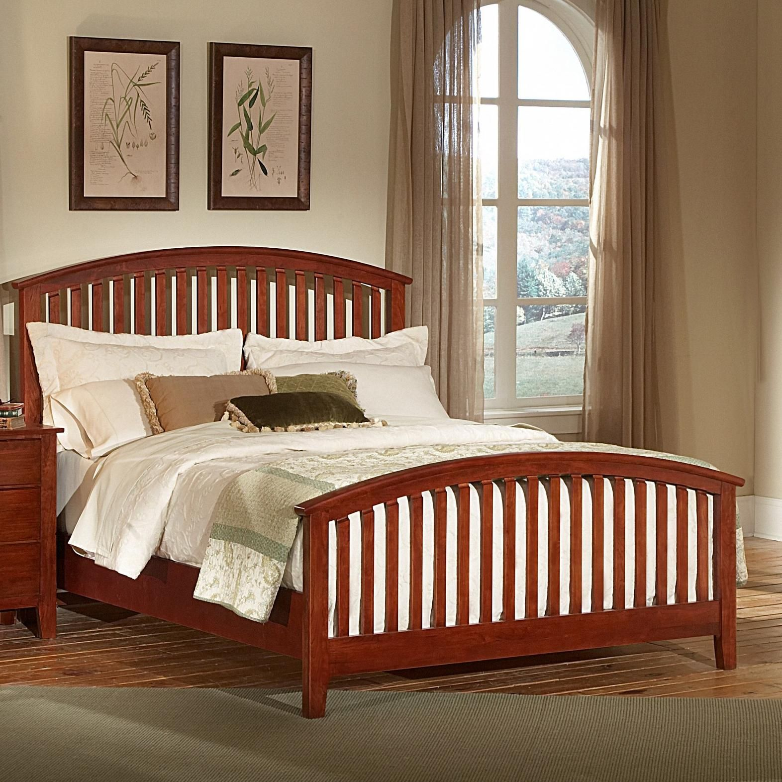 Appalachian hardwood simply cherry king arched slat bed