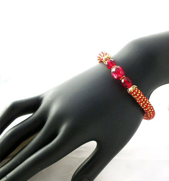 SALE Red gold beads rope bracelet with glass by RebekeJewelry