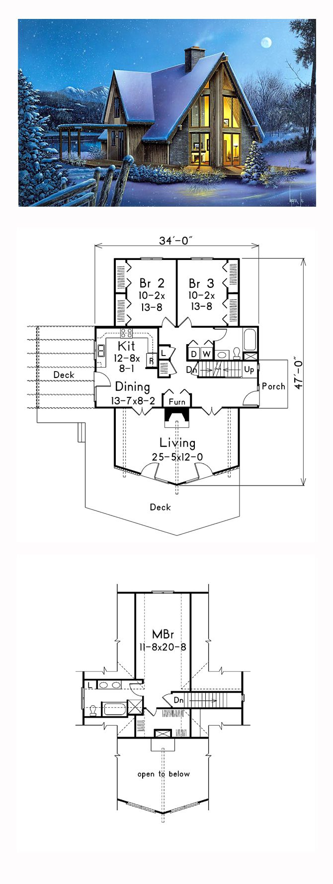 A Frame Style House Plan 87366 With 3 Bed 2 Bath A Frame House Plans A Frame House Cottage Plan