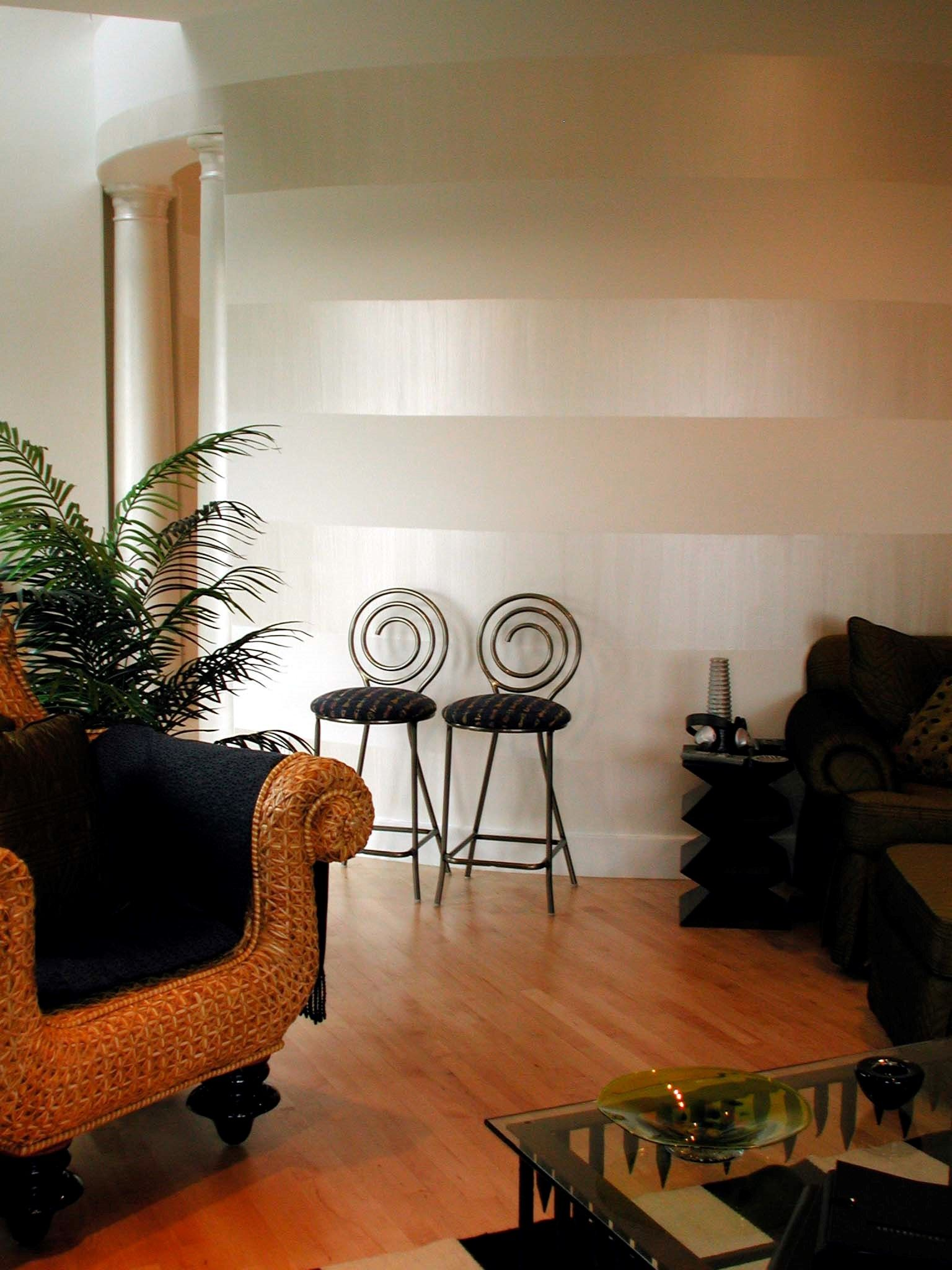 Wide Horizontal Stripes on Wall with Pearl White Sheer Metallic Paint