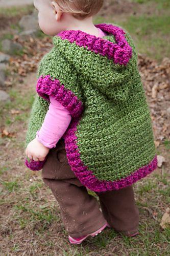 Baby Poncho (knit) #758 pattern by Lion Brand Yarn #babyponcho