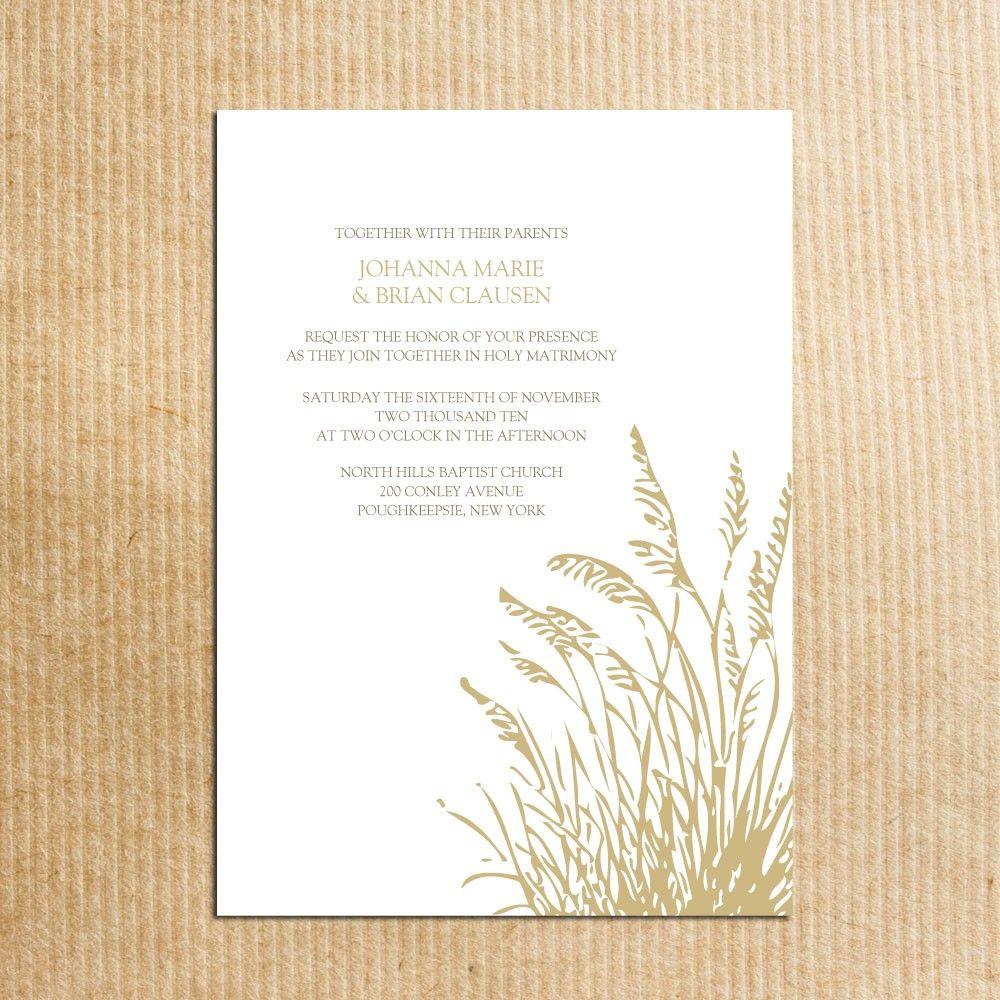 Fall Autumn Harvest Wheat Wedding Invitation - Stationery by ...