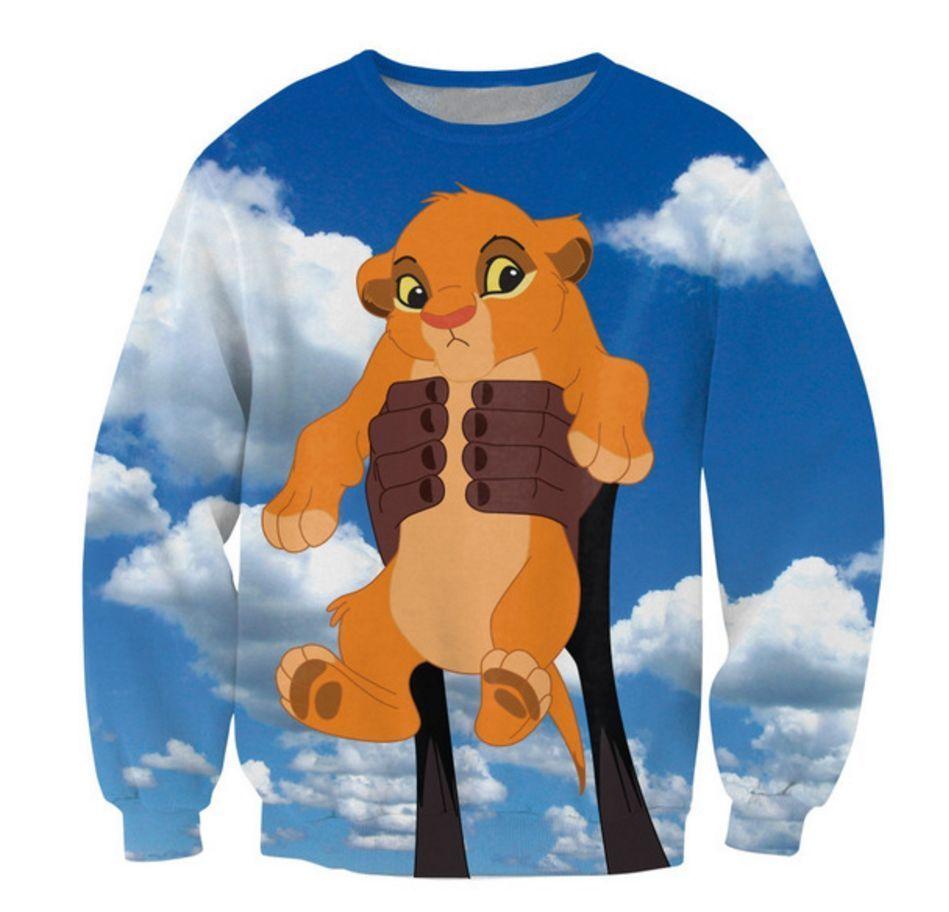 72f7ab20 New Walt Disney 3D Sweatshirt Lion King Simba Hoodie Full Print Sky ...