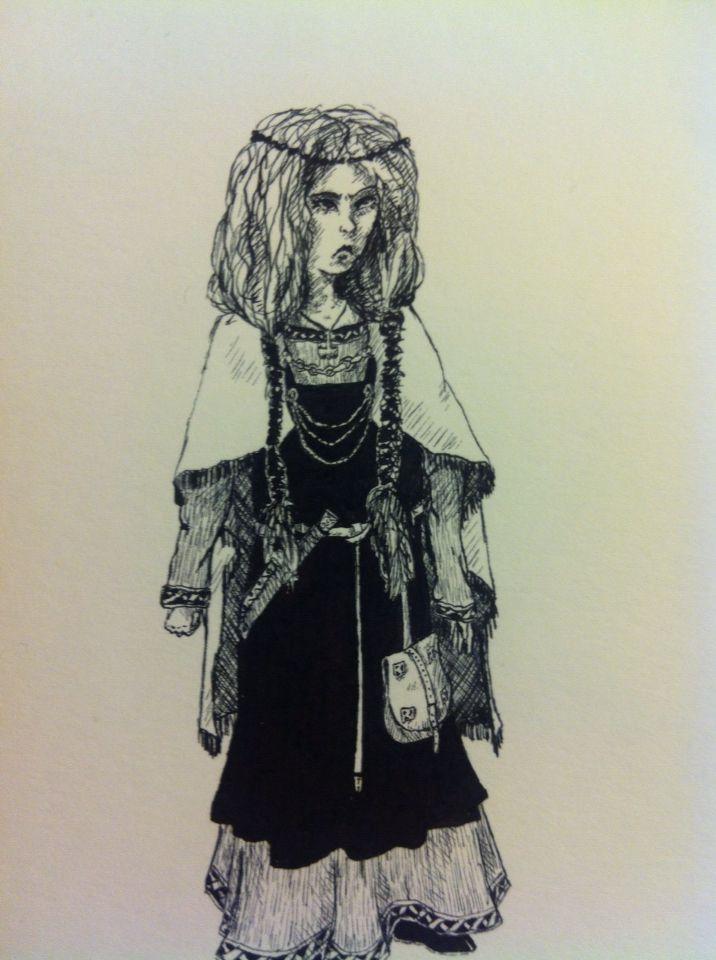 Little viking girl by jen gossman illustration