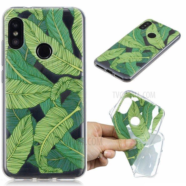 Fashionable Pattern Printing Imd Tpu Phone Cover For Xiaomi Mi A2 Lite Redmi 6 Pro Banana Leaf Pattern Green Phone Case Case