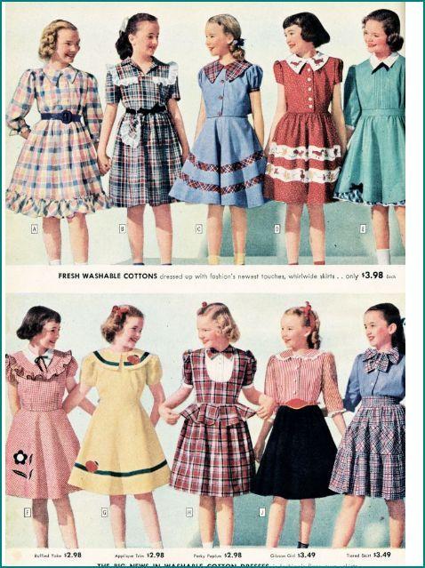 1940's Fashion Sears Catalogue Girls Dresses