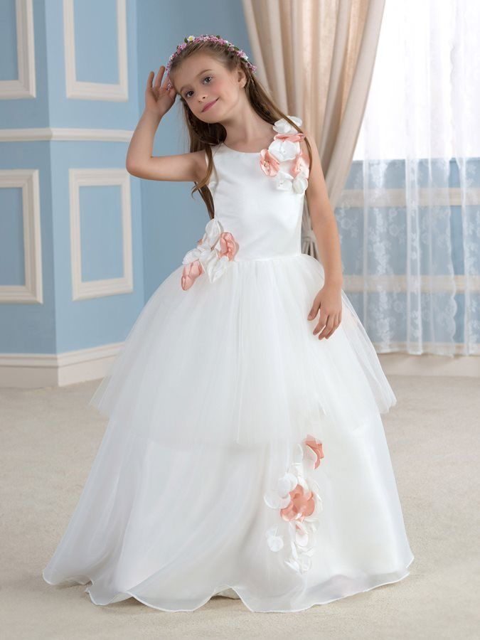 5eeb7ace307 Flowers Floor-Length Tulle Flower Girl Dress. Find this Pin and more on  Baby Birthday Dresses Online India ...