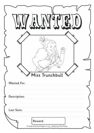 Miss Trunchbull Wanted Poster | Charlie y la fábrica de chocolate ...