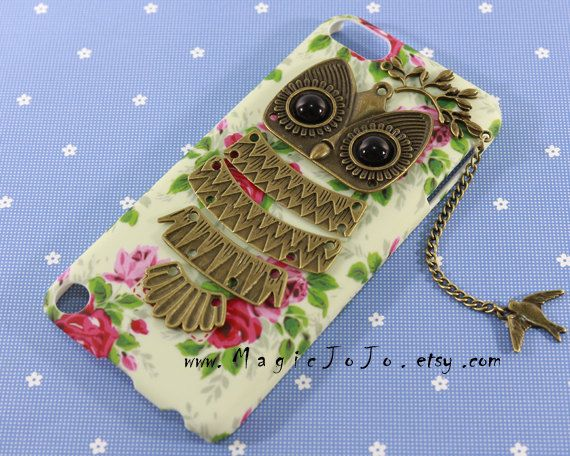 Flowers iPod touch 4 5 case Antique bronze owl iPod by MagicJoJo, $10.99