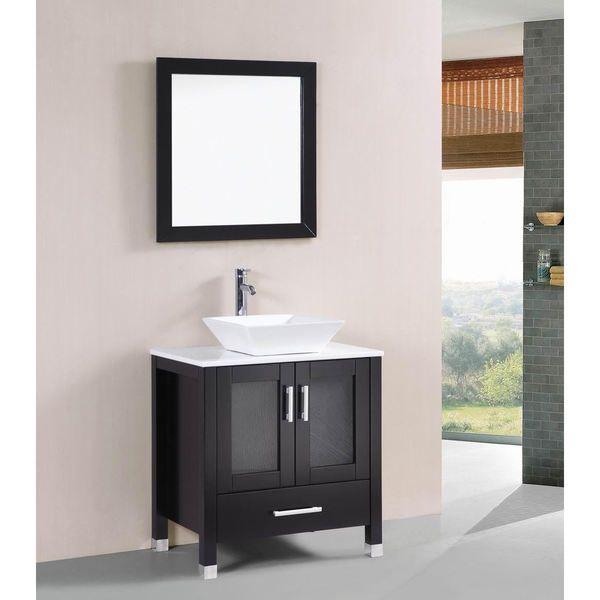Belvedere Modern Espresso 30Inch Bathroom Vanity With Vessel Sink Impressive Shop Bathroom Vanities Inspiration Design
