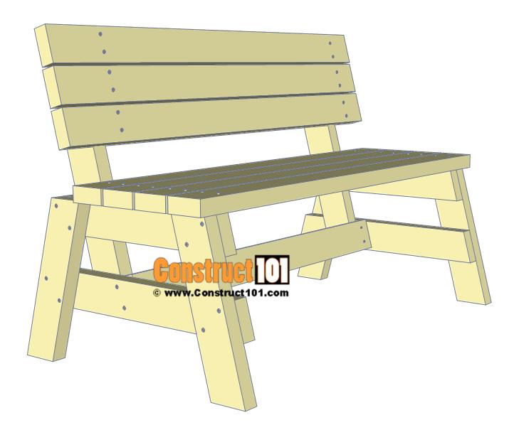 Simple Diy 2x4 Bench Free Plans At Construct101 Cabane Palette Banc De Patio Bancs
