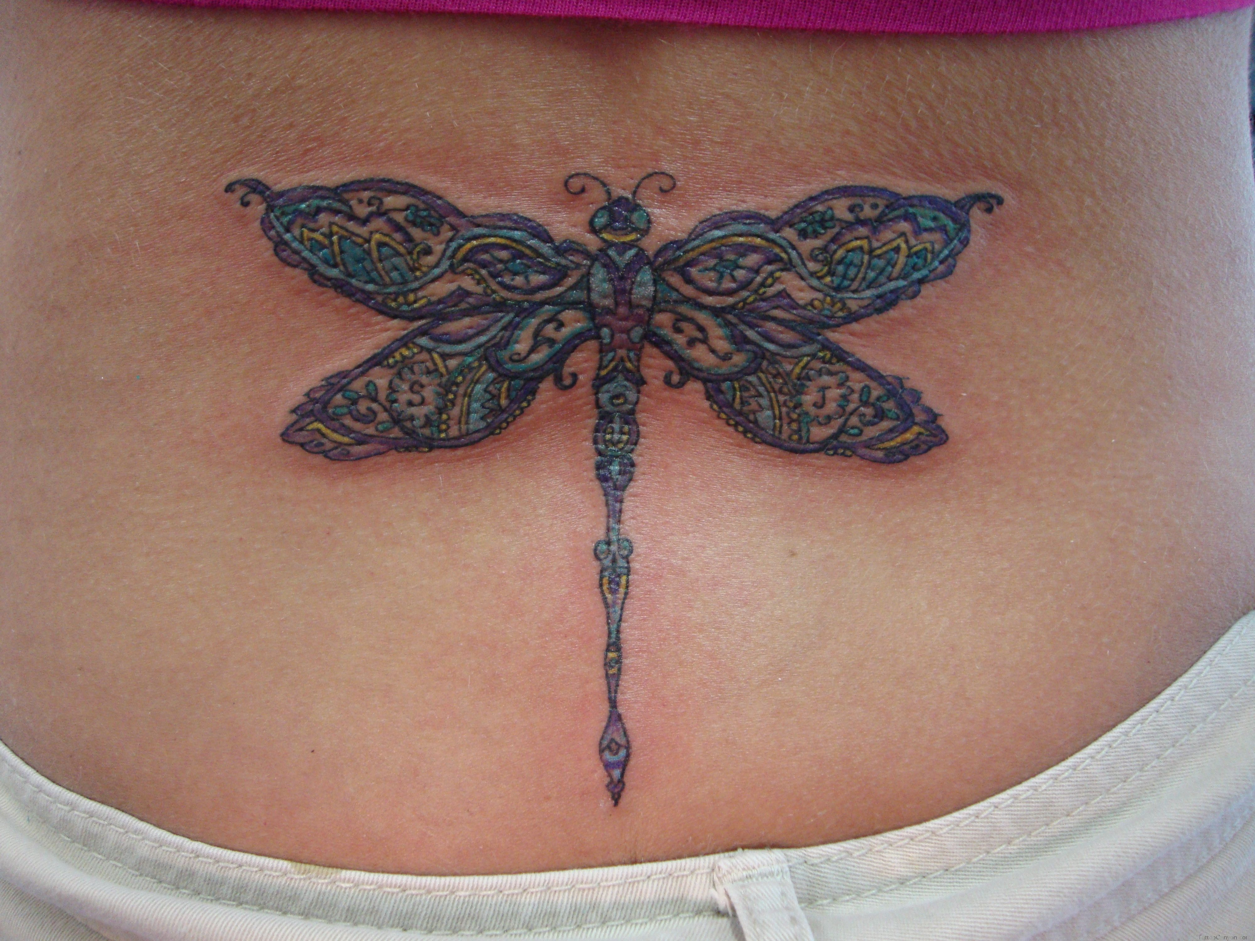 Large Dragonfly Tattoo With Detailed Paisley Pattern By