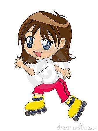 Cartoon Girl On Inline Skates Boys Fashion Trends Girl Cartoon