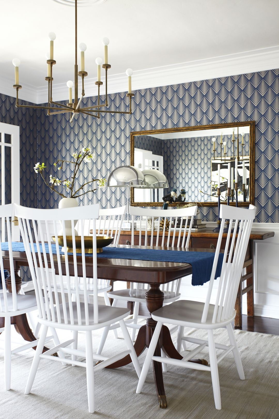 Graphic Blue Wallpaper And Br Accents In The Lorey S Dining Room Via Emily Henderson