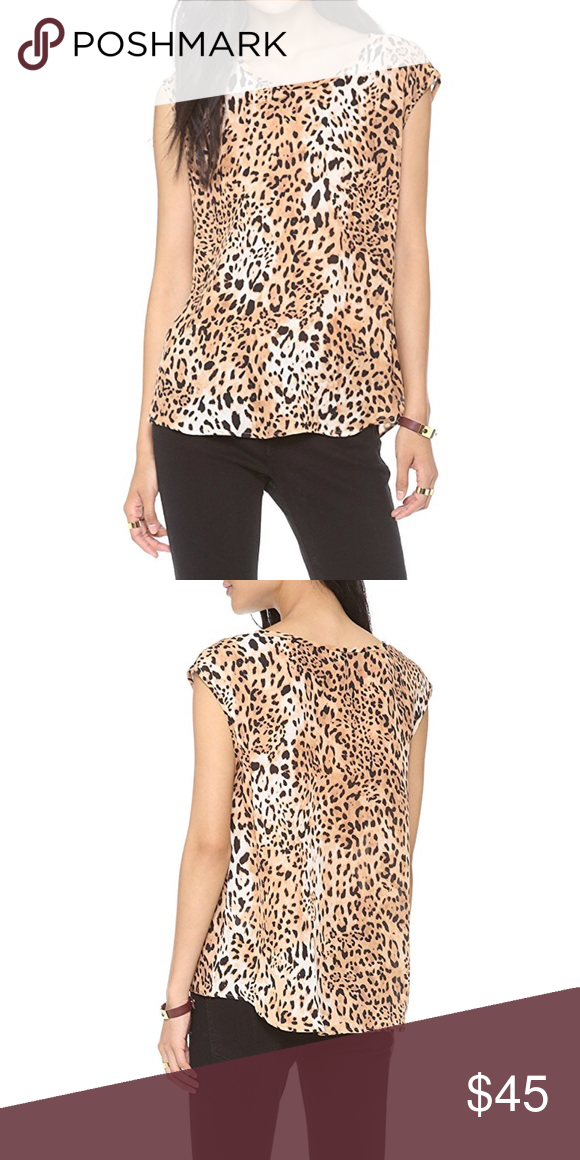 13cb5f02215 Joie Silk Top Leopard-print Joie top with a graceful shirttail hem and  breezy silhouette. Sleeveless. Semi sheer. Like new