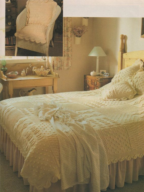 Bedspread and Cushion Aran PDF Knitting Pattern . Throw . Bed Cover ...