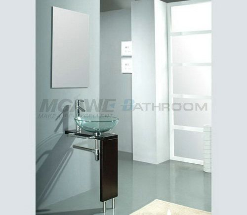 Image On glass wash basin stainless steel bathroom vanity with faucet pop up