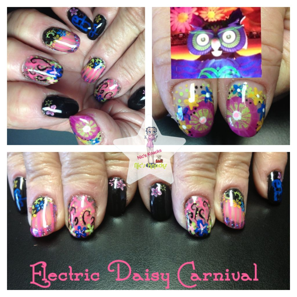 Electric daisy carnival nails. Nails by Nichole Aukerman