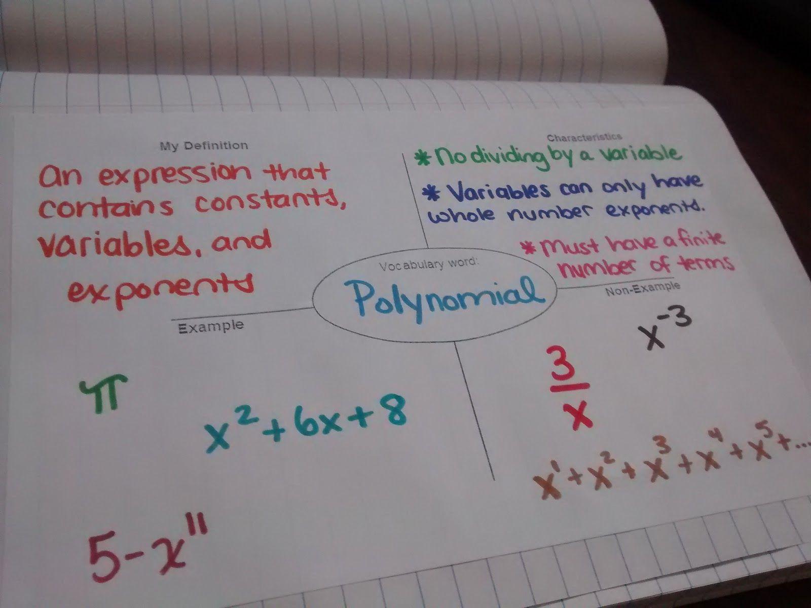 Emphasizing Polynomial Vocabulary Teaching Math Polynomials Math Interactive Notebook [ 1200 x 1600 Pixel ]