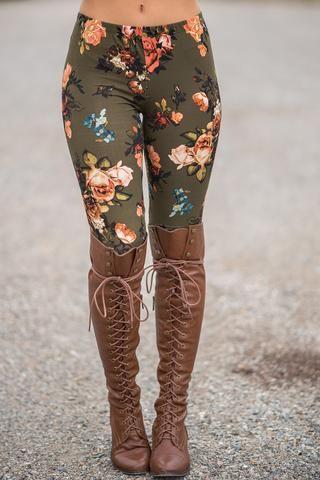 e011394ea5e90 Rose & Blossom Floral Printed Legging (Olive) - NanaMacs.com - 1 ...