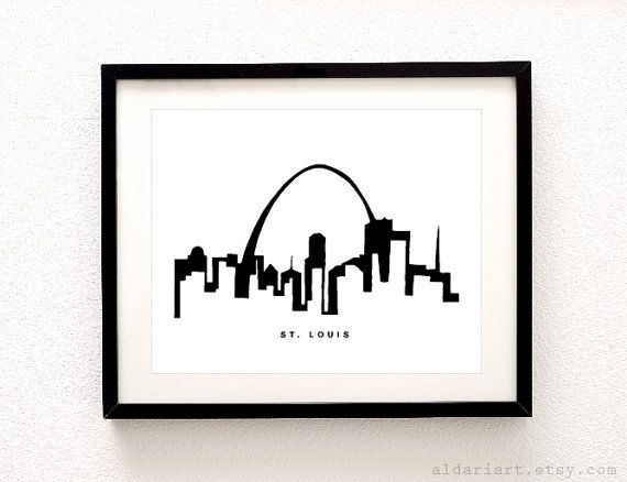 St Louis Cityscape Print Saint Louis Wall Art St Louis
