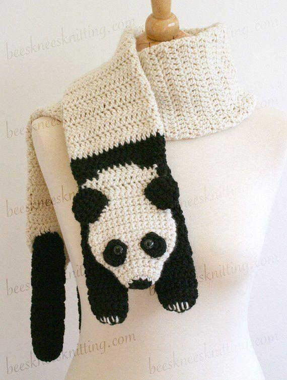 Digital PDF Crochet Pattern for Panda Bear Scarf - DIY ...
