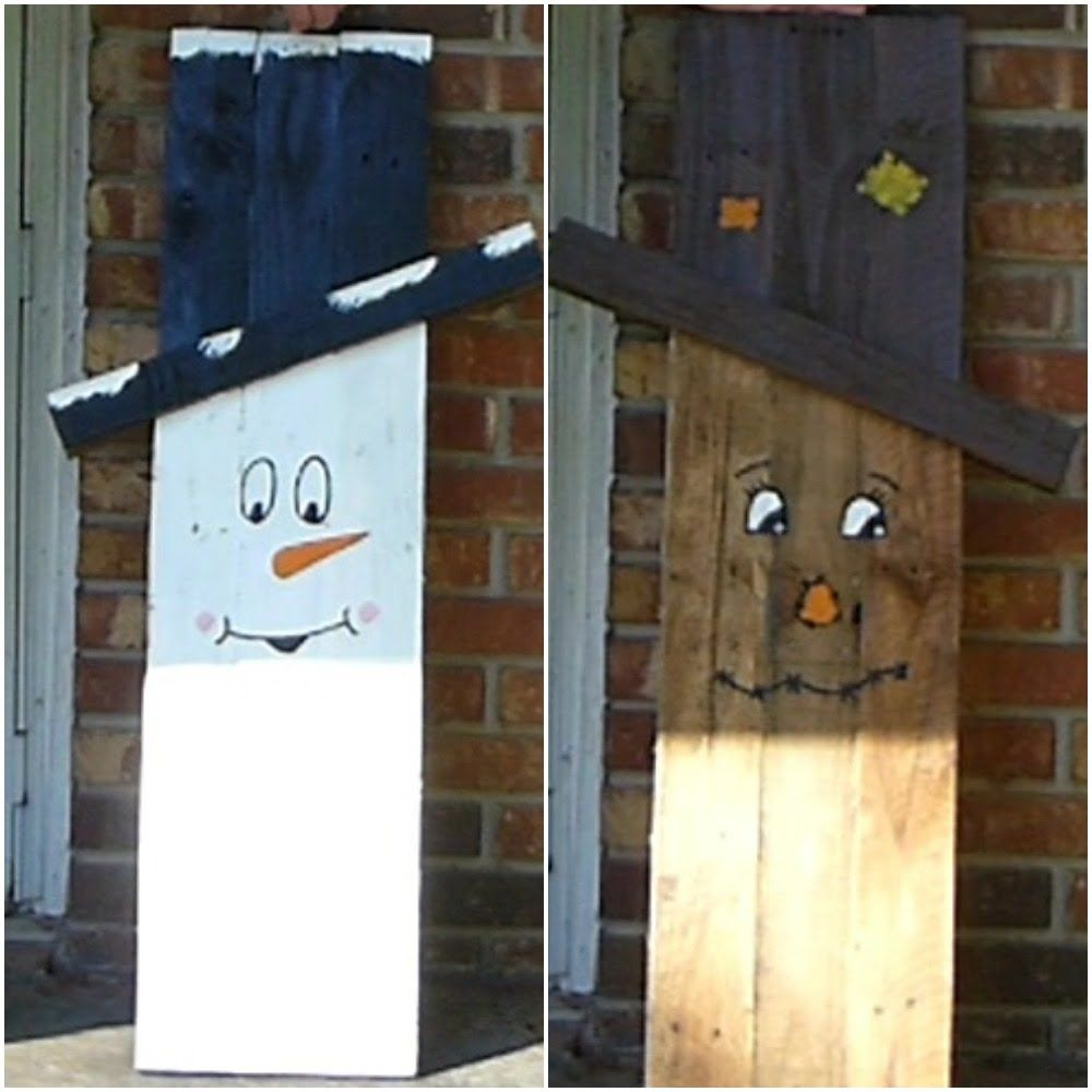 Make Pallet Scarecrowithsnowman Wood